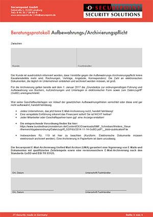 Beratungsprotokoll E-Mail-Archivierung